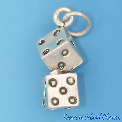 Jewelry & Watches Honey Lucky Pair Of Dice 3d .925 Solid Sterling Silver Traditional Charm Made In Usa