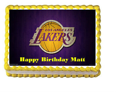 Los Angeles Lakers Birthday Party Icing Edible Cake Topper 1//4 sheet