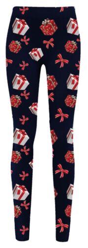 New Womens Christmas Santa Snowman Reindeer Rudolph Gift Tie Stretchy Leggings