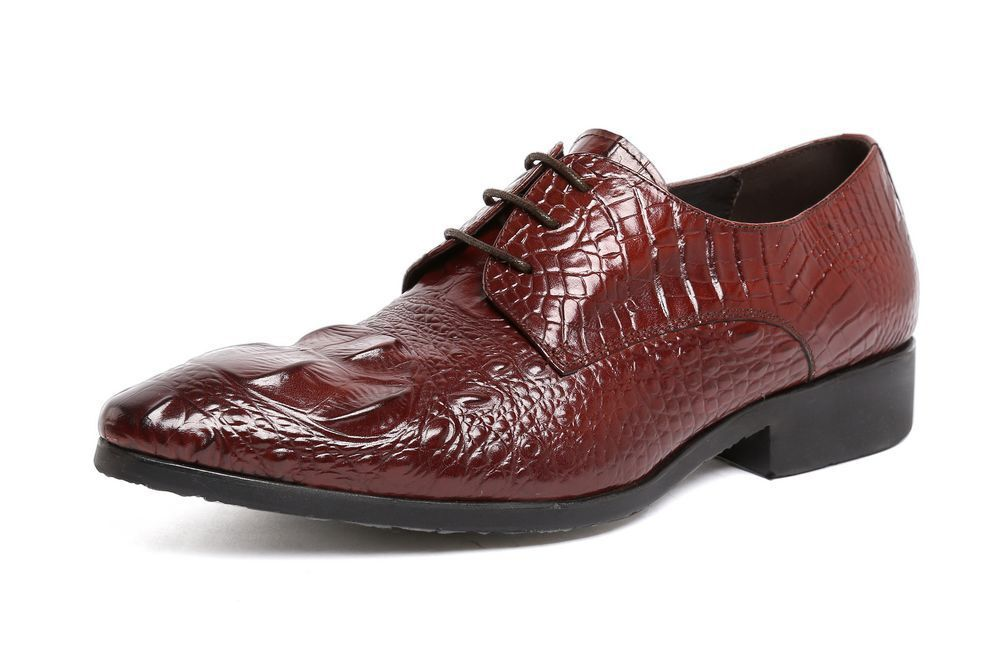 New Men's Real Leather Dress Formal shoes Crocodile Print Lace up C2503