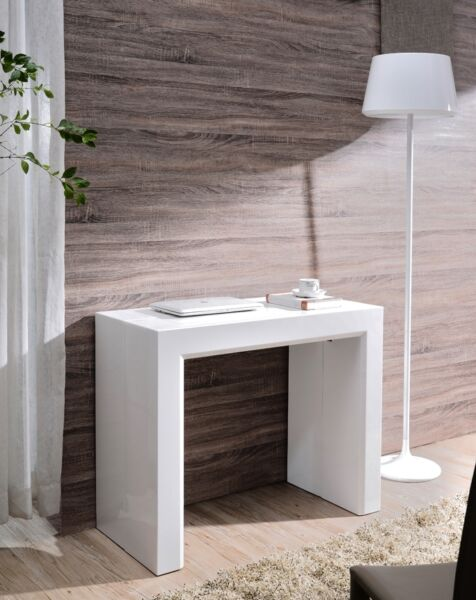 Tavolo Consolle Moderno Allungabile Colore Bianco Lucido Vari Stili