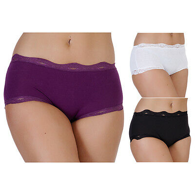 NEW 3 PACK LADIES WOMENS COTTON MIDI BRIEFS PANTS KNICKERS SHORT UNDERWEAR  12-18 7aded3992f
