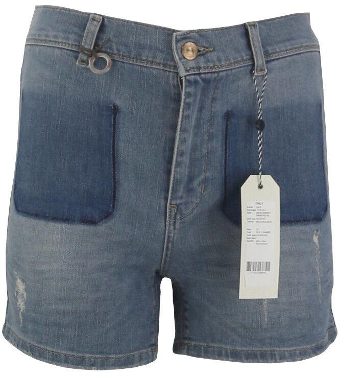 45/29 NEU ONLY Damen Jeans kurze Hose Short onlSHEA HW PATCH DNM SHORTS CRE W29