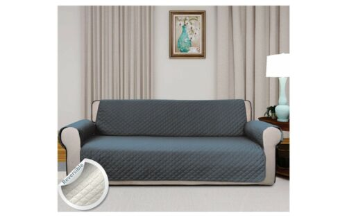 Quilted Sofa Slip Cover Reversible Pet Settee Chair Throw Furniture Protector