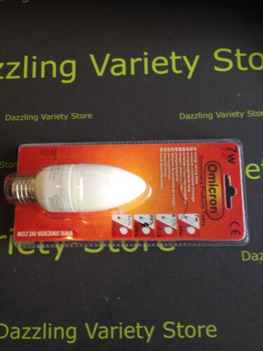10x Omicron E27 ES 7w = 40w CFL Candle Long Life Energy Saving Lamp Light Bulb