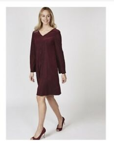 1c840f877ac Nina Leonard Bell Sleeve Velvet Striped Dress Deep Wine Burgundy ...