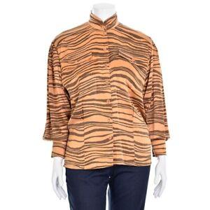 Vtg-ESCADA-Margaretha-Ley-Butterscotch-Brown-Tiger-Stripe-Matte-Silk-Blouse-38-8
