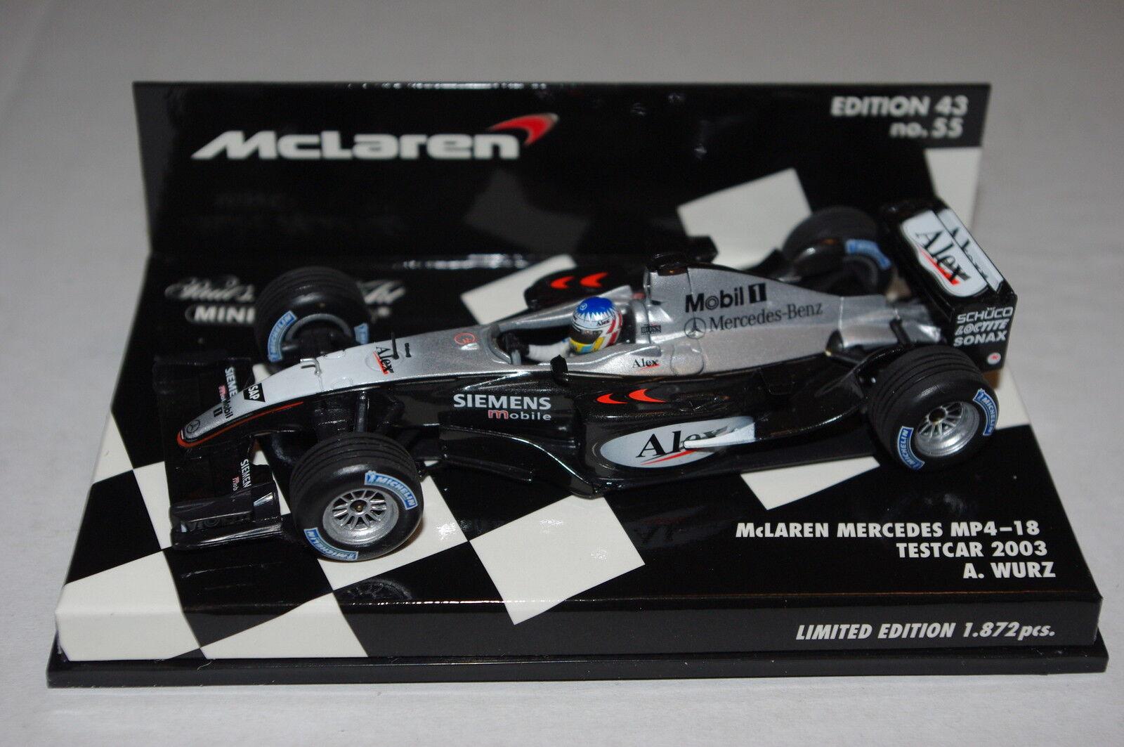 Minichamps F1 1 43 McLAREN MERCEDES MP4 18 TESTCAR 2003 ALEX WURZ