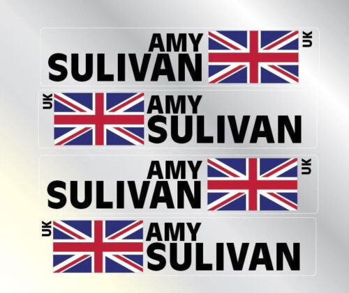 4x Personalised Named Flag Cycle Frame Helmet Bike 14mm Tour Sticker Decal