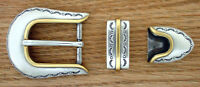 Western Rodeo Tack Silver/gold Sunrise 1 Bridle/halter Buckle Set's (2)
