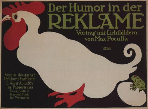 CHICKEN EGG FROG HUMOR IN ADVERTISING GERMAN VINTAGE POSTER REPRO