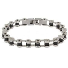 Mens Stainless Steel Bicycle Bike Chain Silver Black Bracelet 8.5inch