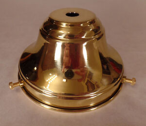 """NEW Spun Polished Brass 4"""" Fitter Fixture Shade Holder With Set Screws #SH764"""