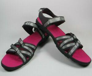 Teva-Tirra-Womens-Size-US-7-Metallic-Sport-Sandals-Silver-Pink-Black-1004879-EUC