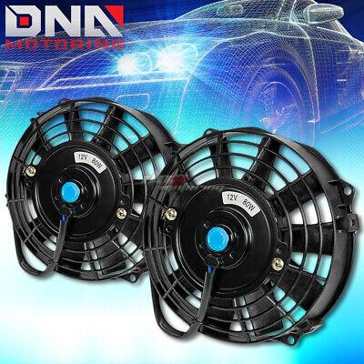 "2X 10/"" ELECTRIC RADIATOR//ENGINE COOLING FAN+MOUNTING ZIP TIE KITS BLACK"