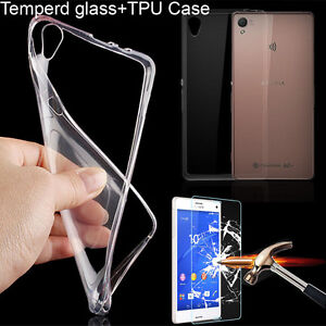 Real-Tempered-Glass-Screen-Protector-Clear-Soft-TPU-Case-For-Sony-Xperia-Phones