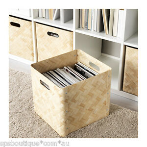 ikea bullig bamboo box storage basket fit kallax besta. Black Bedroom Furniture Sets. Home Design Ideas