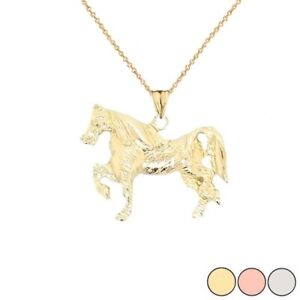 Solid  Gold Stallion Pendant Necklace  In Yellow White Rose