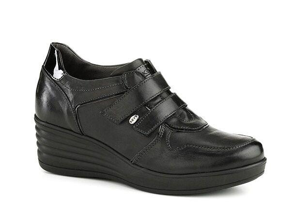 KEYS 1022 NERO scarpe donna sneakers alte zeppa pelle casual velcro