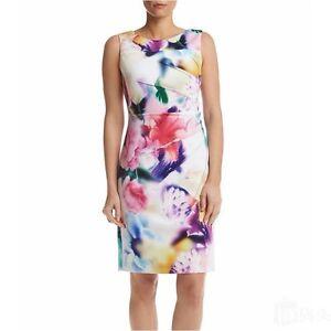 a9926a40a5174 Image is loading NWT-Calvin-Klein-Floral-Print-Starburst-Scuba-Sheath-
