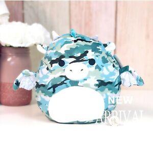 "*SALE* KellyToy Squishmallow 8"" Keanu the Blue Camouflage Dragon NEW HTF Plush"