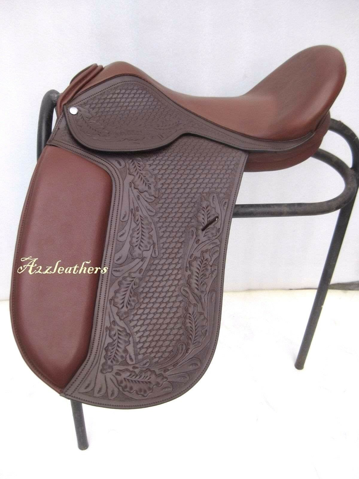Brown Dressage Treeless saddle with tooling and carving, 9 sizes + accesories