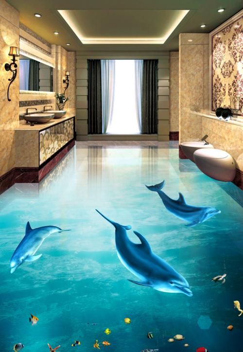 3D Light Dolphin Painting 5 Floor WallPaper Murals Wall Print Decal AJ WALLPAPER