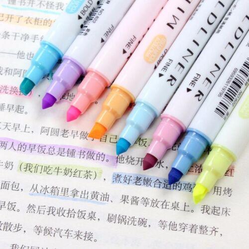 12pcs Marker Pens Mild liner Headed Fluorescent Pen Art Highlighter Drawing IN9