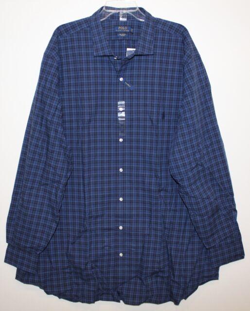 Polo Ralph Lauren Big and Tall Mens Blue Plaid Button-Front Dress Shirt NWT 3XLT