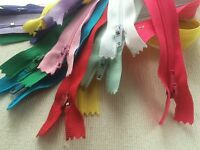10 x Nylon No.3 Zips for sewing & crafts with autolock - 5 inch -COLOUR  choice