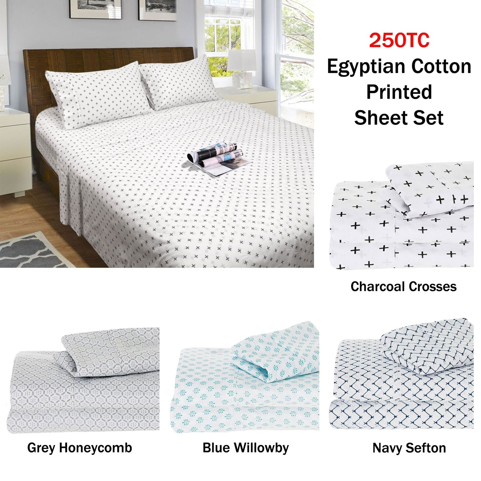 250TC Egyptian Cotton Printed Sheet Set by by by Ramesses SINGLE DOUBLE QUEEN KING 52059c