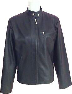 v9 en 'Pointure 20' courte femmes pour Veste 10 noir cuir véritable à Pax5ZUq