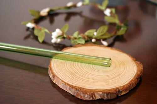4x Verre Pailles potable Tiges glastrinkhalme boissons roseau précisément vert Brosse
