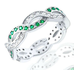 Emerald-Round-and-Clear-CZ-Sterling-Silver-Infinity-Band-Ring