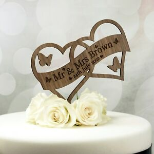 Wedding Cake Topper Decoration Personalised With Name Date In