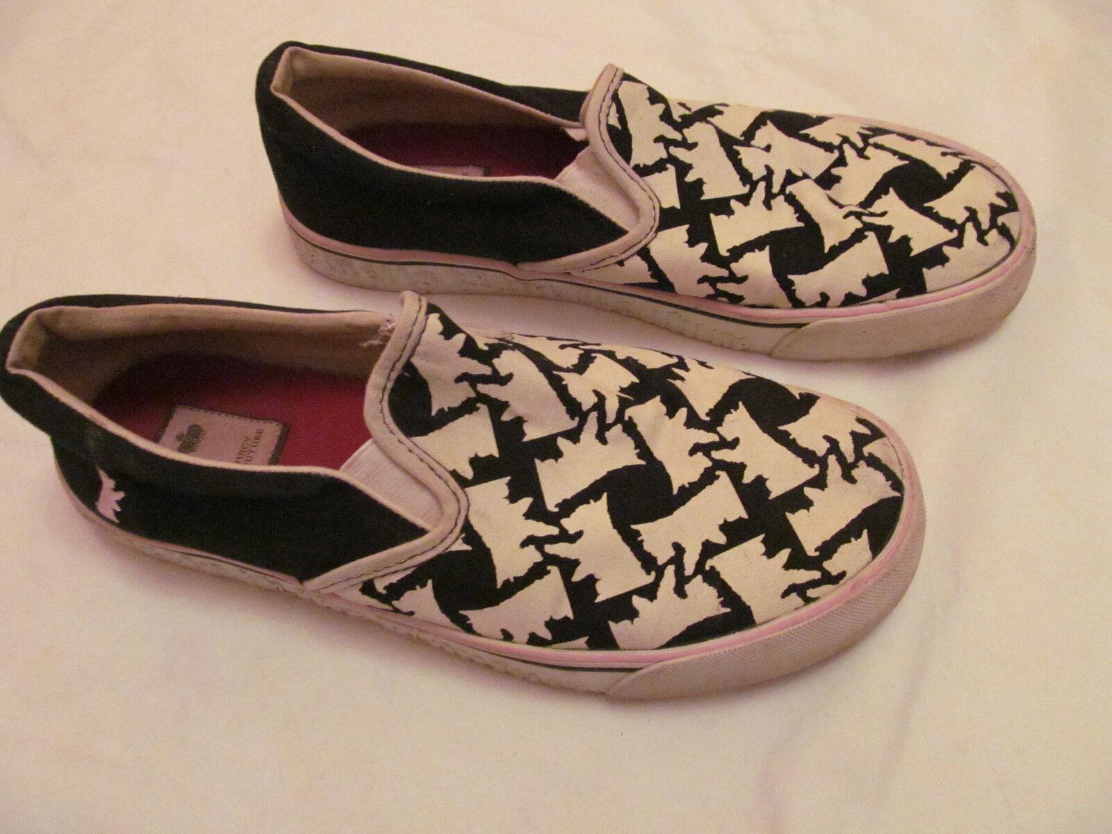 JUICY COUTURE SCOTTY DOG nero and white print slip on scarpe da ginnastica shoes 9 M