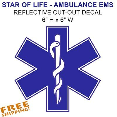 "EMS EMT STAR OF LIFE 4/"" REFLECTIVE Sticker Decal 1 pc AMBULANCE Adhesive Vinyl"