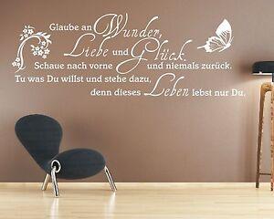 g297-WANDTATTOO-Spruch-Glaube-an-Wunder-Liebe-und-Glueck-Wandaufkleber-Zitat