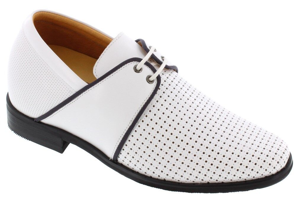 Toto A21223 - 7.1cm Aufzug Höhe Vergrößerte Perforiert Geschnürt Weiß Schuhe