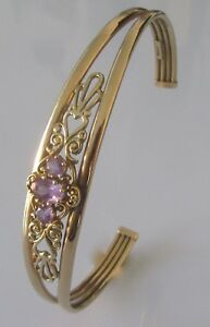 Secondhand-9ct-yellow-gold-oval-round-amethyst-ornate-open-bangle-bracelet