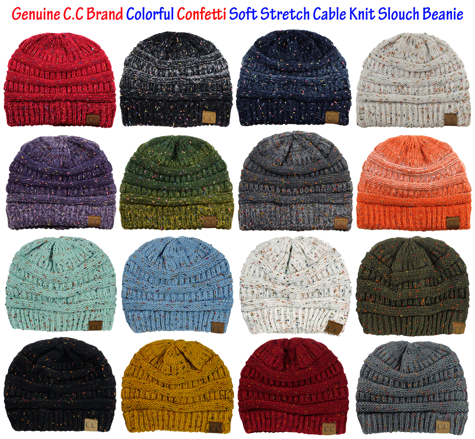 cad0a05cb4c97 C.c Unisex Colorful Confetti Soft Stretch Cable Knit Beanie Skull Cap -  Rust for sale online