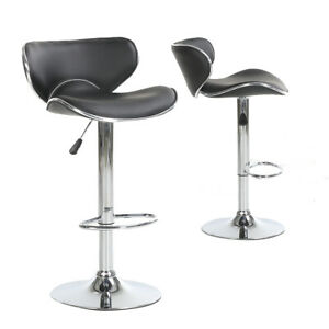Enjoyable Details About 2X Pu Leather Bar Stool Swivel Kitchen High Chrome Metal Gas Lift Two Short Links Chair Design For Home Short Linksinfo