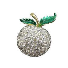Panetta Vintage Brooch Pin Crystal Rhinestone Apple Green Enamel Gold 576f
