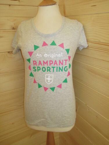 RAMPANT SPORTING Women/'s Grey T-Shirt Tee Sz 12 14 RRP£25