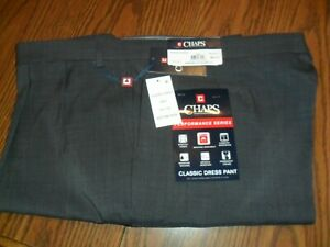 Para Hombres Pantalones De Vestir Chaps Gris Oscuro 50 X 30 Con Puno Bottoms Performance Series Nuevo Con Etiquetas Ebay