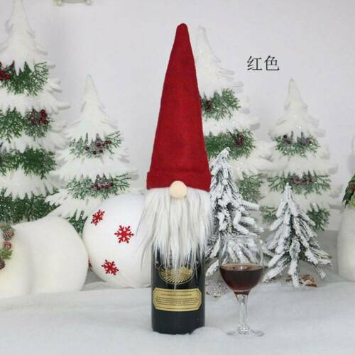 CHRISTMAS GNOME WINE BOTTLE COVER GIFT WRAP XMAS DINNER PARTY TABLE DECORA