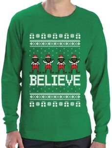 image is loading believe black santa elves ugly christmas sweater long