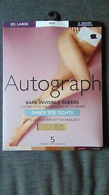 M/&S Autograph 1Pr 5Den Bare Invisibles Sheer Toe Tights S XL Nude BNWT