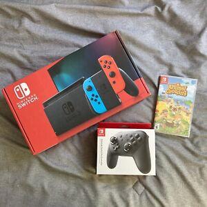 Nintendo Switch Neon Red / Blue Joy-Con + Animal Crossing ...