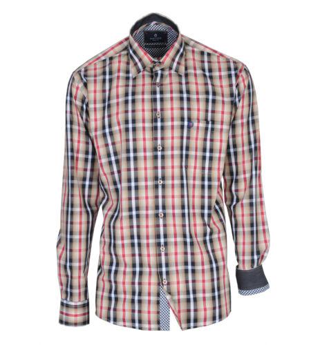HATICO da uomo per il tempo libero Camicia Multicolore A Quadri Blu//Rosso Con Kent Colletto Taglia L M